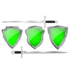Green shields with swords vector image