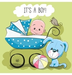 Greeting card its a boy vector