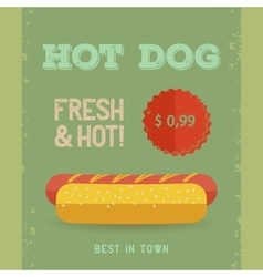 Hot Dog menu vintage poster vector image vector image