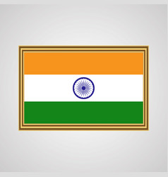 indian flag in a golden frame on a gray background vector image vector image