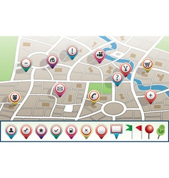 map with GPS icons vector image vector image