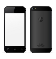Mobile phone concept front view and back side vector