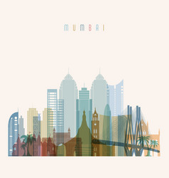 mumbai skyline detailed silhouette vector image