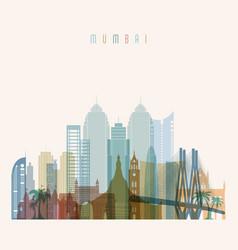 mumbai skyline detailed silhouette vector image vector image
