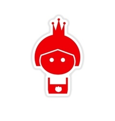 Paper sticker on white background girl princess vector