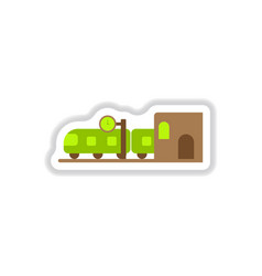 Paper sticker on white background train station vector