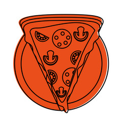 Pizza slice fast food icon image vector