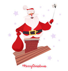 santa claus making selfie from chimney vector image vector image
