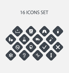 Set of 16 editable care icons includes symbols vector