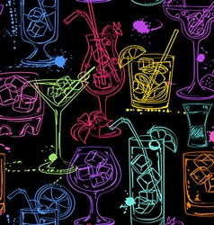 Sketch seamless pattern of cocktails vector image