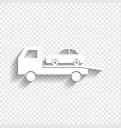 Tow car evacuation sign white icon with vector