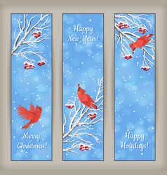 Vertical Christmas Banners Bird Rowan Branches vector image