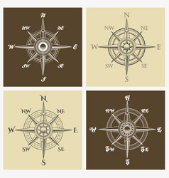 wind rose compass set vector image vector image