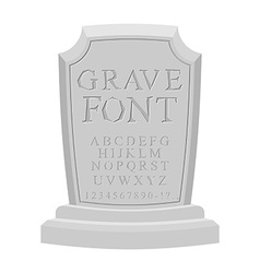 Gave font Ancient carved on tombstone of ABC Tomb vector image