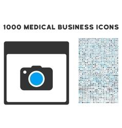 Photo camera calendar page icon with 1000 medical vector