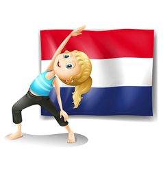 A girl in front of the flag of netherlands vector