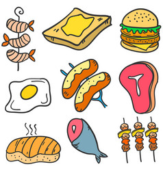 Food various style of doodles vector