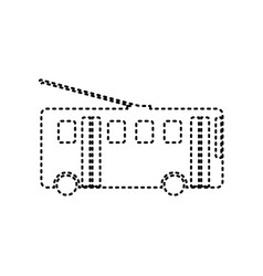 Trolleybus sign black dashed icon on vector