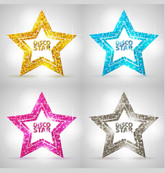 set of silhouettes of gold disco star sign vector image