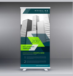 Roll up banner stand template for your business vector