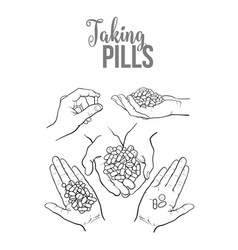 Hand drawn hands holding piles of pills capsules vector