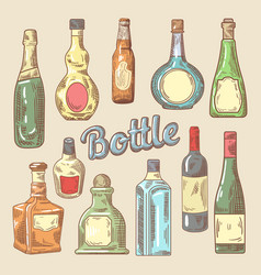Hand drawn set of different bottles for drinks vector