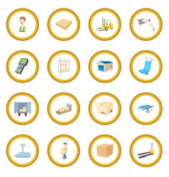 Warehouse logistic storage icon circle vector