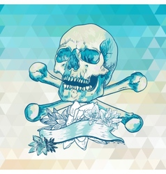 Skull with a ribbon on geometric background vector