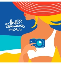 Summer background with beautiful woman silhouette vector