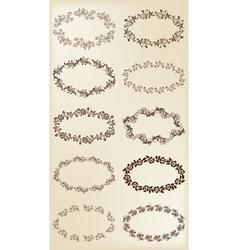 Set of design elements vintage floral frames vector image