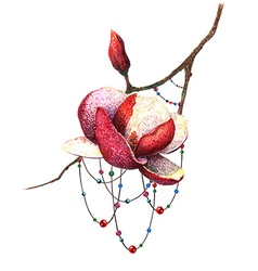 Magnolia and beads vector