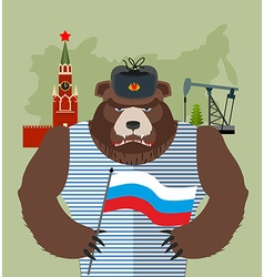 Bear with ear flaps with flag of Russia Background vector image