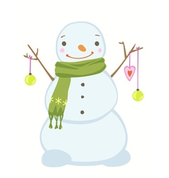 Cute christmas snowman wearing a scarf vector