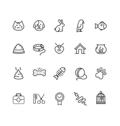 Pet outline icon set vector