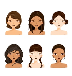 Young women faces with various hairstyles and skin vector
