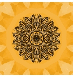 Elegant mandala-like pattern on yellow seamless vector