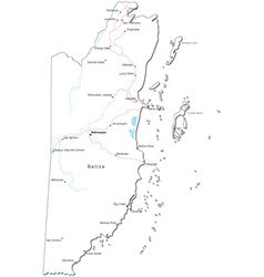 Belize black white map vector