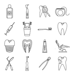 Dental care icons set outline style vector