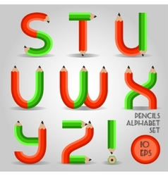 Alphabet in wooden pencil style red and green vector