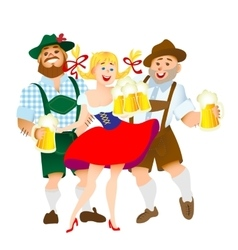 bavarian men and woman with a big glass of beer vector image
