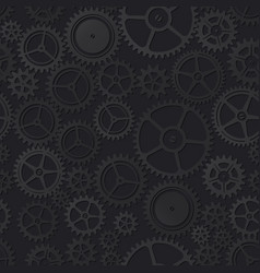 Black clockwork seamless pattern vector