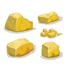 Cartoon golden ore or stone for game design set vector