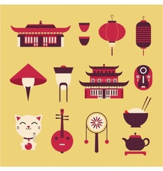 Chinese Travel Icons vector image