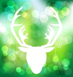 Christmas reindeer on green bokeh background vector image vector image
