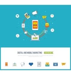 Digital and mobile marketing Social network vector image