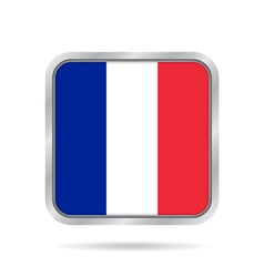 Flag of france shiny metallic gray square button vector