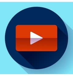 Flat video play player icon botton vector