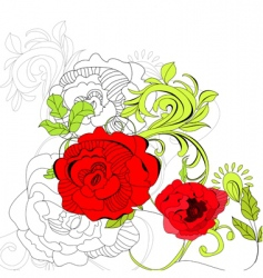 floral background with red flowers vector image vector image
