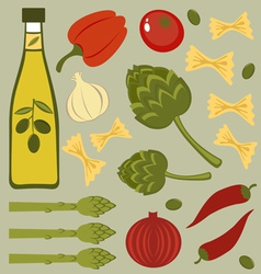 Italian food ingredients vector image