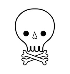 Line skull with bones to danger and warning symbol vector